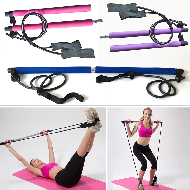 Pilates Bar Kit Body Abdominal Resistance Rope Puller Multi Functional Yoga Rally Rod Pilates Stick Fitness Bar Body Workout