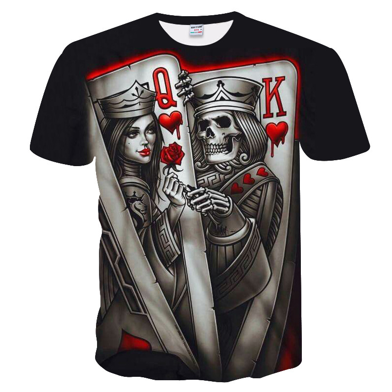 New Casual Skull Poker Printed 3D T-Shirt Men Short Sleeve Tee Shirt Homme Black Design Tee Tops Male Summer Tops Drop Ship