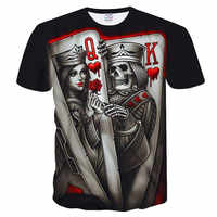 New Casual Skull Poker Printed 3D T-Shirt Men Short Sleeve Tee Shirt Homme Black Design Tee Tops Male Summer Tops Drop Ship