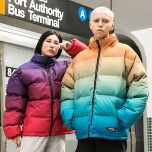 Image 4 - Men Hip Hop Hooded Jacket Winter 2019 Streetwear Gradient Color Padded Parka Harajuku Trench Coat Windbreaker Outwear Oversize