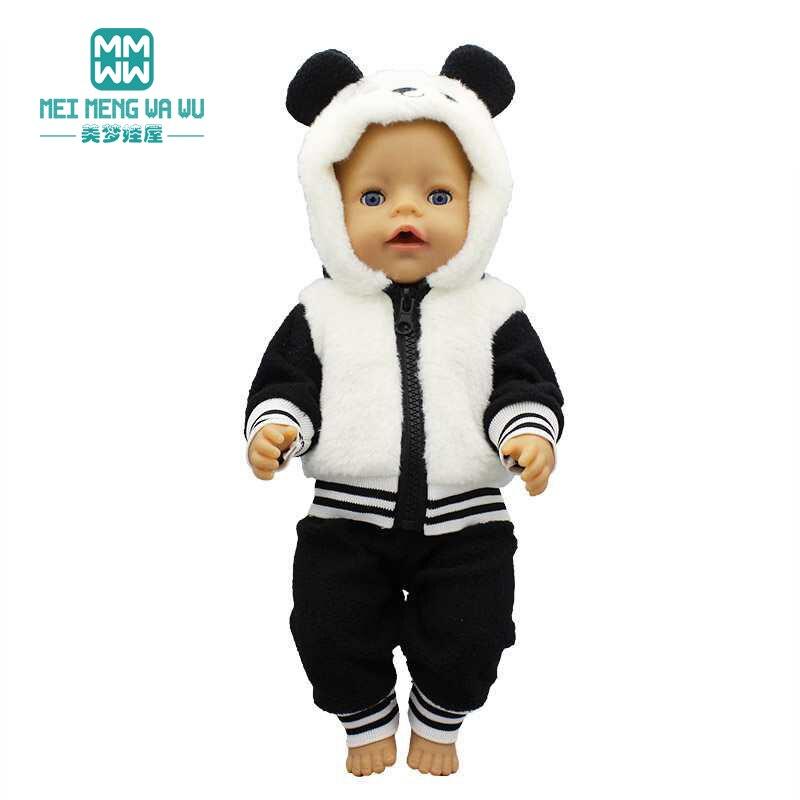 Ubrania dla lalki moda panda kurtka fit 18 cali 43-45cm zabawka dla dziecka noworodki lalka i amerykańska lalka prezent dla dziewczyny
