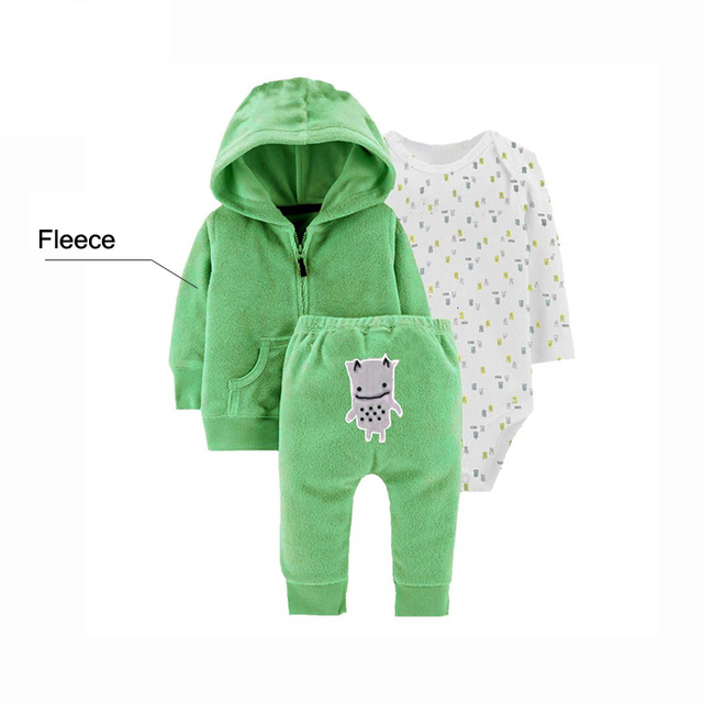 3 Pcs/Set Infant Baby Clothes 2020 Spring Fal Cotton Baby Coat+Pants+Bodysuit Long sleeves Newborn Bebe Girls Clothing OutfitS 4