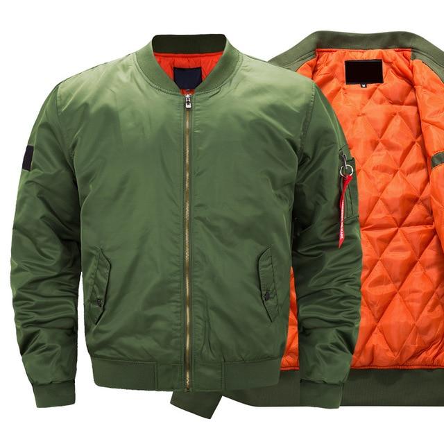 Pilot hava erkekler bombacı ceket Mens askeri bombacı ceketler erkekler rahat düz fermuar Pilot ceket yeşil yeni Slim Fit erkek mont 6542