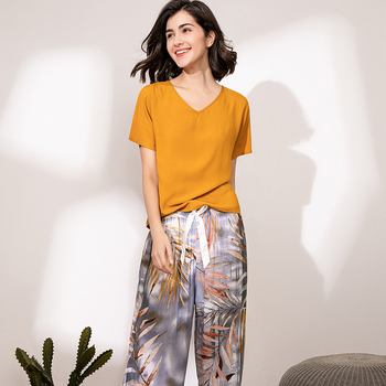 Summer Pajamas Set Women Sleepwear Female Casual Floral Printed Contrasting Color Pyjamas Tops with Long Trousers Home Clothing 6
