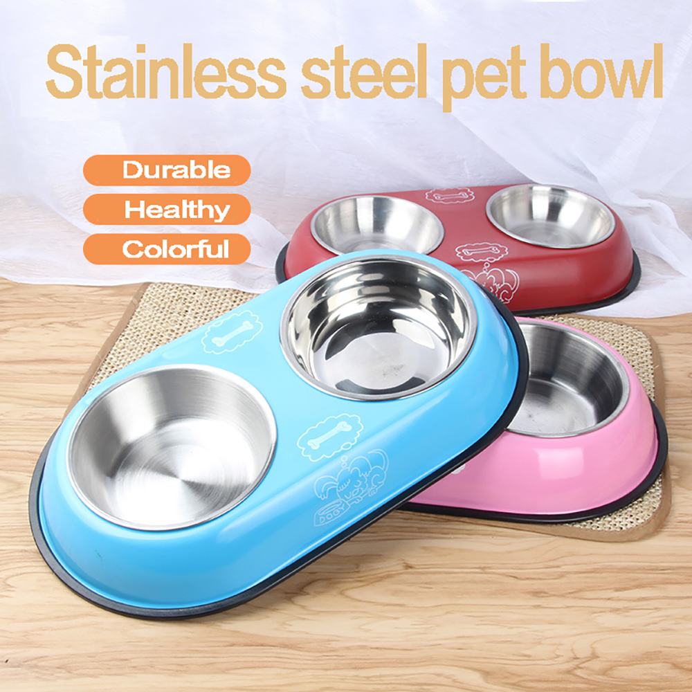 Double Dog Bowl font b Pet b font Feeding Station Stainless Steel Water Food Bowls Feeder