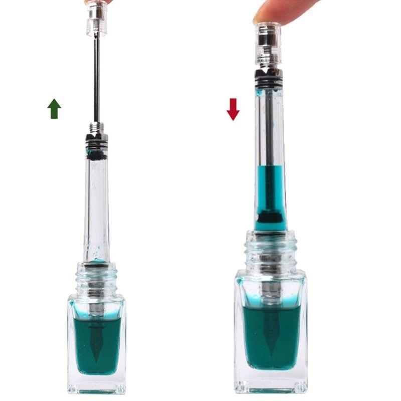Transparent Vacuum Negative Pressure Fountain Pen EF/F Nib 0.38/0.5mm Ink Pen Business Gift M5TB
