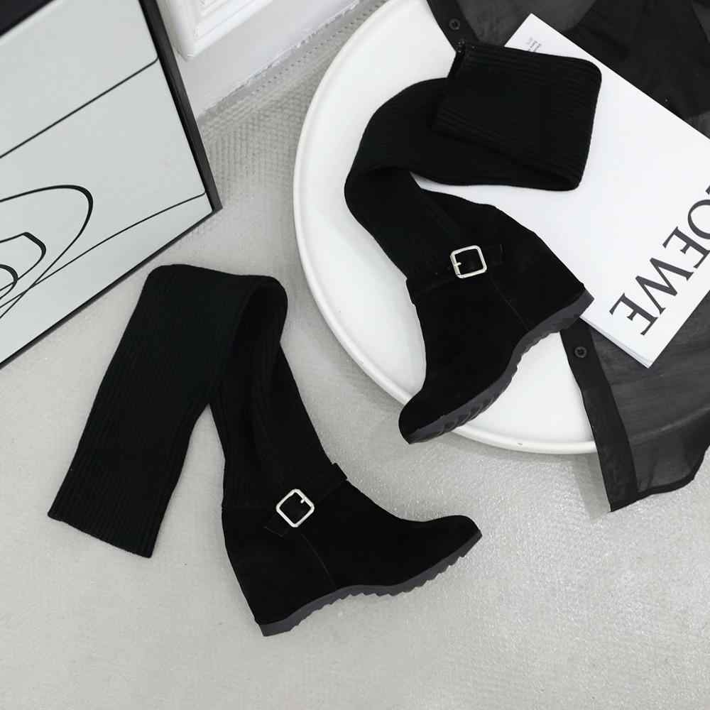 Smirnova grande taille 34-47 Nouvelles femmes bottes chaussures à semelles compensées boucle mince sur les bottes au genou décontracté cuisse haute bottes femmes botas