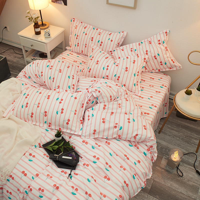 Reactive-Printing Pillowcase Duvet-Cover Bed Linen Flat-Sheet 3/4pcs Cherry Twin/Full/queen/king-size