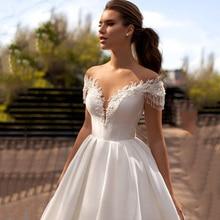 Vestido de noiva em cetim, vestido simples com contas, cauda e capuz, 2021