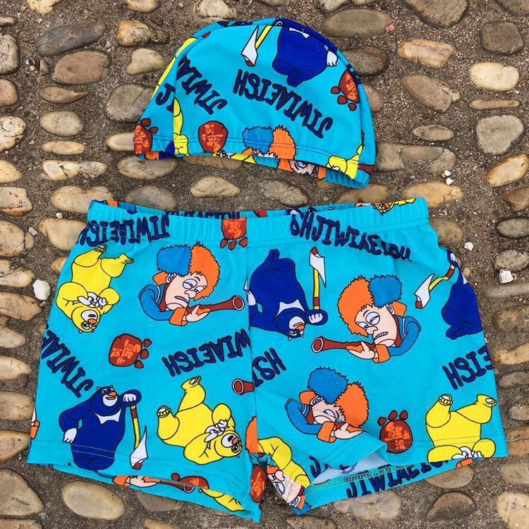 New Style Cartoon CHILDREN'S Swimming Trunks + Swim Cap Children Swimming Trunks Boxer Hot Springs Swimming Pool Swimming Trunks