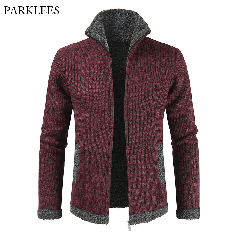 Mens Zipper Velvet Sweater Coat 2020 Winter Wark Thicken Cardigan Sweaters Men Casual Slim Fit Stand Collar Knitting Pull Homme