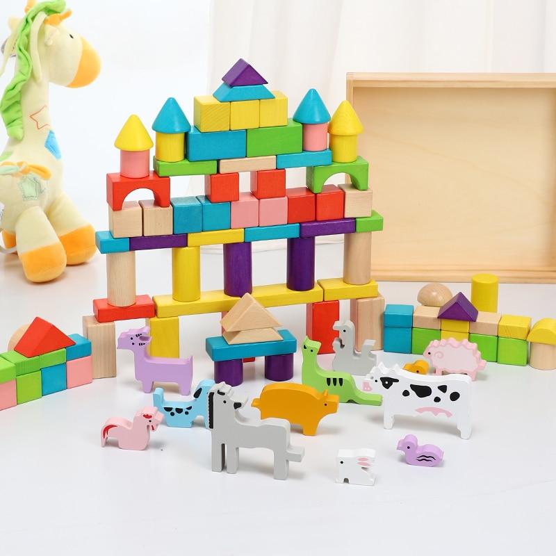 Kinder bausteine spielzeug holz montage bausteine tier baby 2 6 jahre alt intelligenz spielzeug