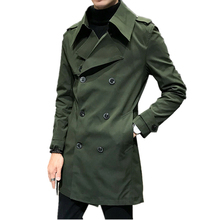 Fashion brand double-breasted men's long jacket army green white black long coat men business casual