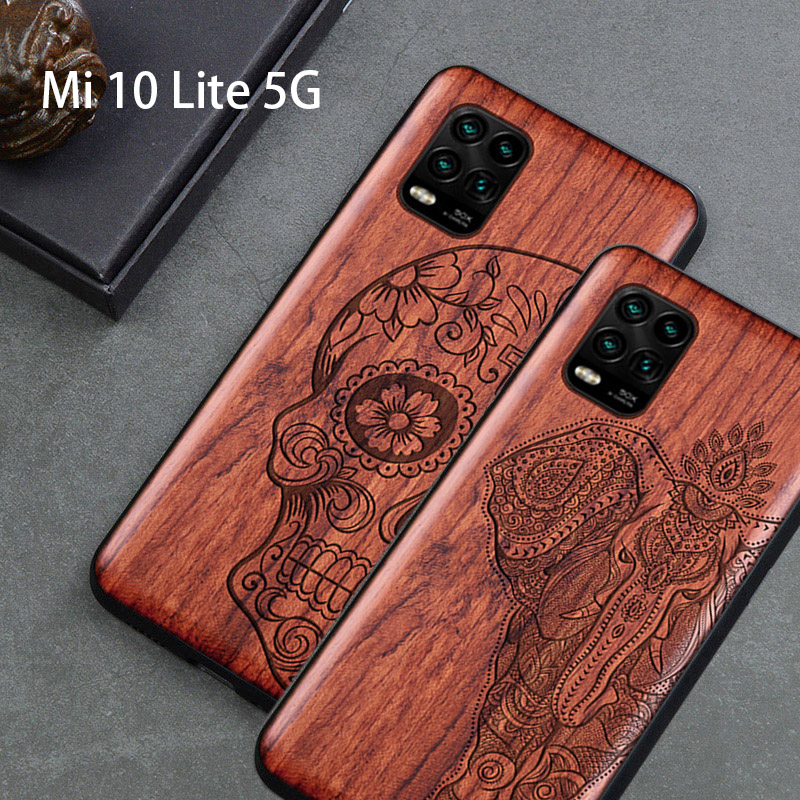 2020 New For Xiaomi Mi 10 Lite 5G Case Slim Wood Back Cover TPU Bumper Case On Xiaomi Mi 10 Lite Mi 10 Youth Phone Cases