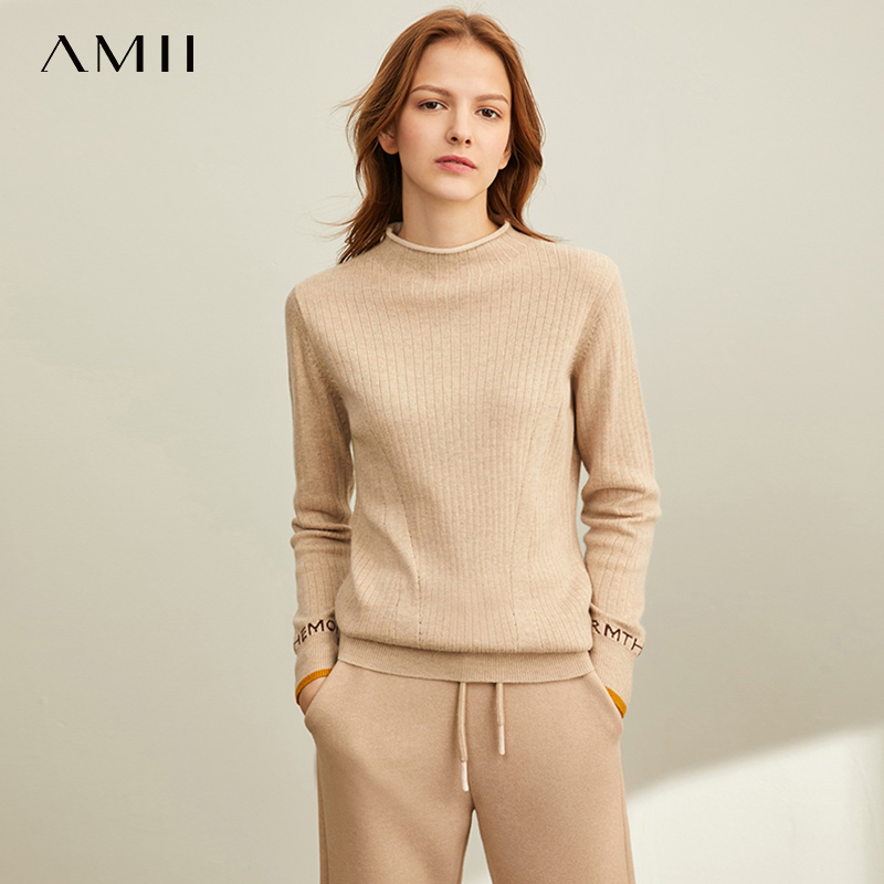 Amii Winter Spring Solid Sweater  Wears A Half-high Collar Full Sleeves Slim Fit Pullover Knitted Sweater 11920233