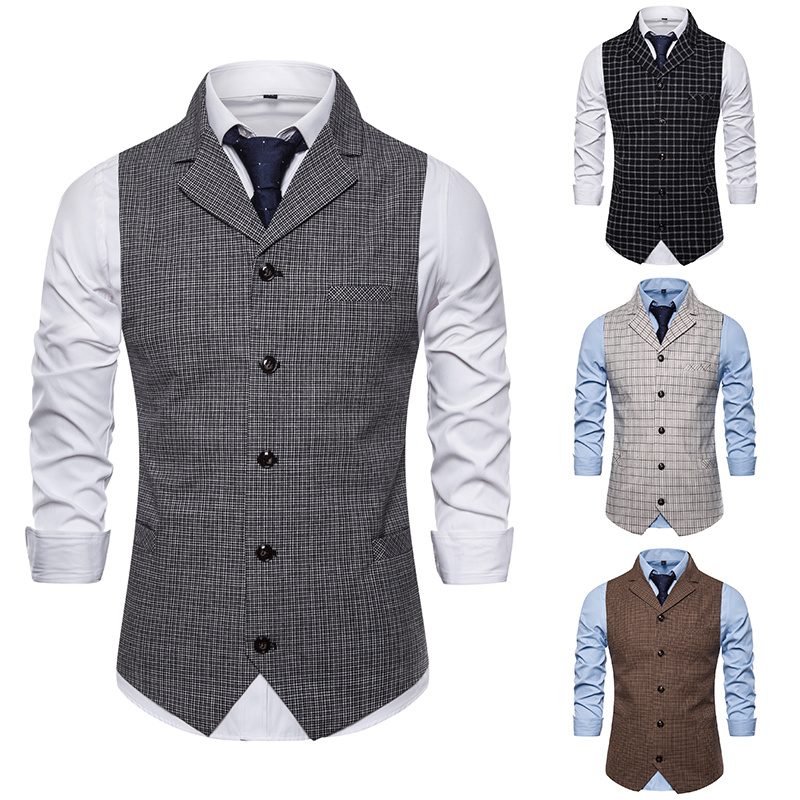 Brand Men Vest British Style Terno Masculino Slim Fit Plaid Waistcoat Business Single Breasted Gilet Chalecos Para Hombre
