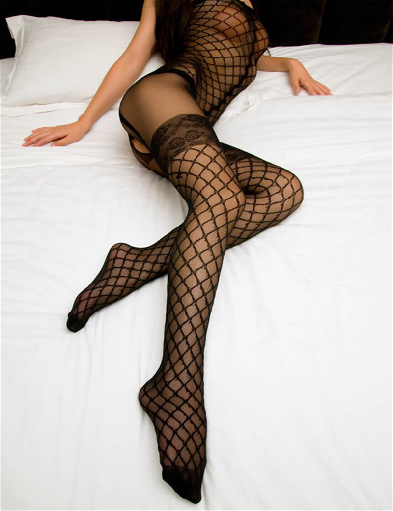 Sexy Fullbody For Women Stocking Black Sling Lace Sexy Siamese Net Clothing Transparent Fishnet Thigh High Stockings Mesh Sex