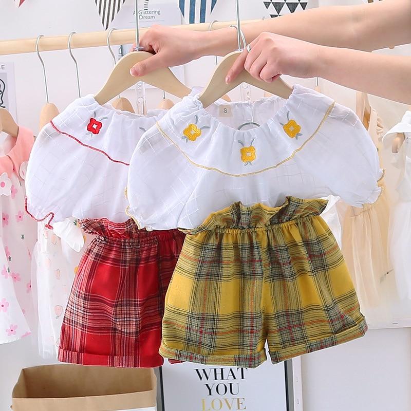 Baby Girls  Sweet Suit Summer Children Plaid Shirt+Shorts Leisure Embroidery Princess 2pcs Set Kids Baby Girls Cloths