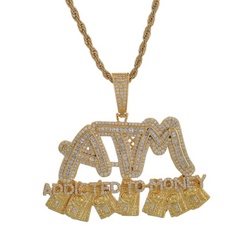 Iced Out Chain 18K Gold Plated Bling CZ Simulated Diamond Letters ATM Pendant Men's Hip Hop Necklace for Men Charm Jewelry фото