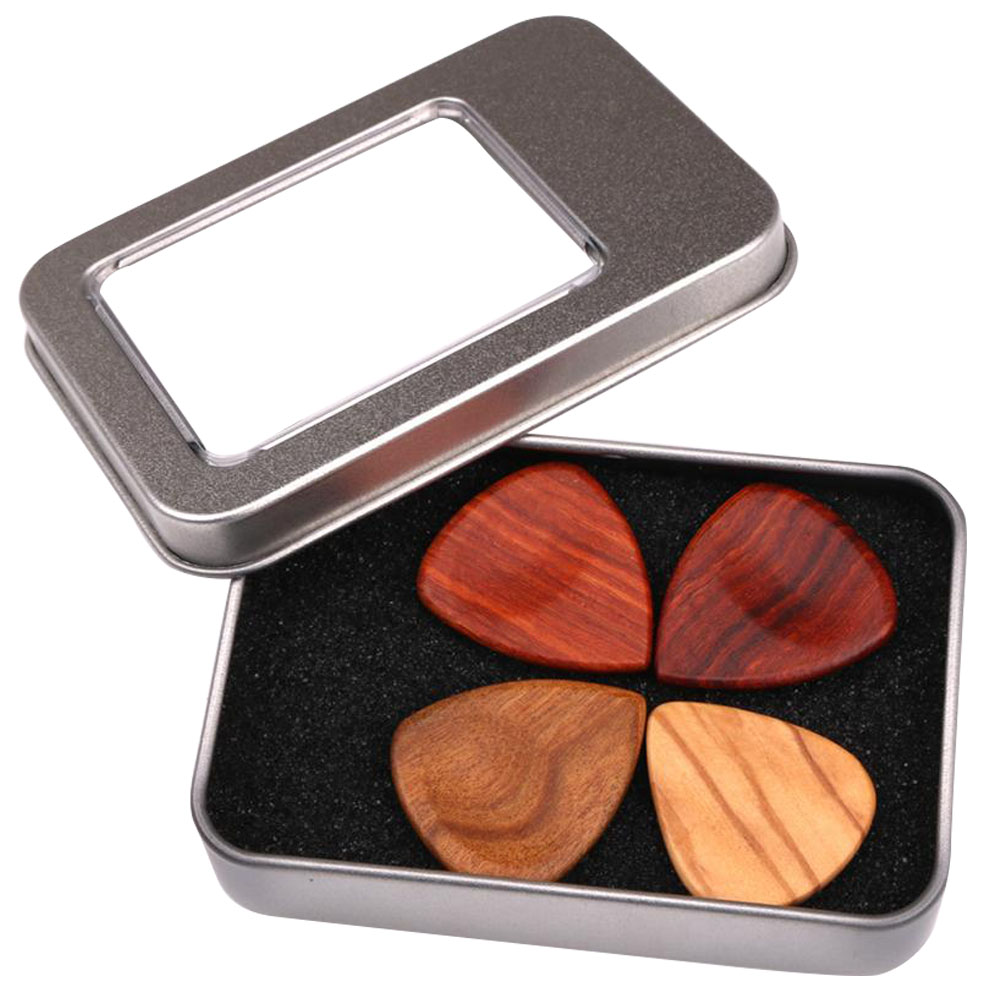 4pcs Finger Nail Guitar Pick Set Storage Box Electric Portable Smooth Gift Wooden Ukulele Musical Instrument Heart Shape