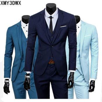 ( jacket + vest + pants ) 2020 Spring Men's Slim Fit Business Three-piece Suits Male groom Party dress /Man Wedding Blazers Sets 1