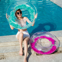 Feathers inside adult Pool floats Transparent Inflatable Swimming Circle Water float Buoy Rubber Swim Ring PVC Boat Pool Toys new mermaid swimming ring adult pool floats inflatable buoy rubber rings flamingo donut circle women giant float pool toys