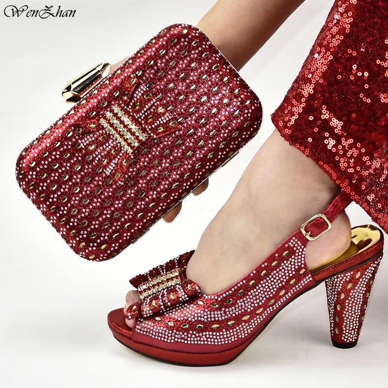 Chaussures italiennes et sacs assortis femmes africaines vin chaussures à talons hauts et sacs ensemble pour la fête de bal décoré de strass D99-20