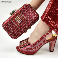 Italian Shoes And Matching Bags African Women Wine High Heel Shoes and Bags Set For Prom Party Decorated With Rhinestone D99 20