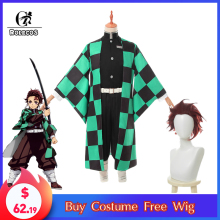 ROLECOS Anime Kimetsu no Yaiba Cosplay Costume Tanjirou Kamado Demon Slayer Kimono Full of Sets for Men
