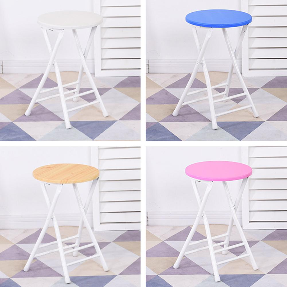 Portable Folding Chair Metal + Density Board Round Stool for Home Balcony Dormitory Adults