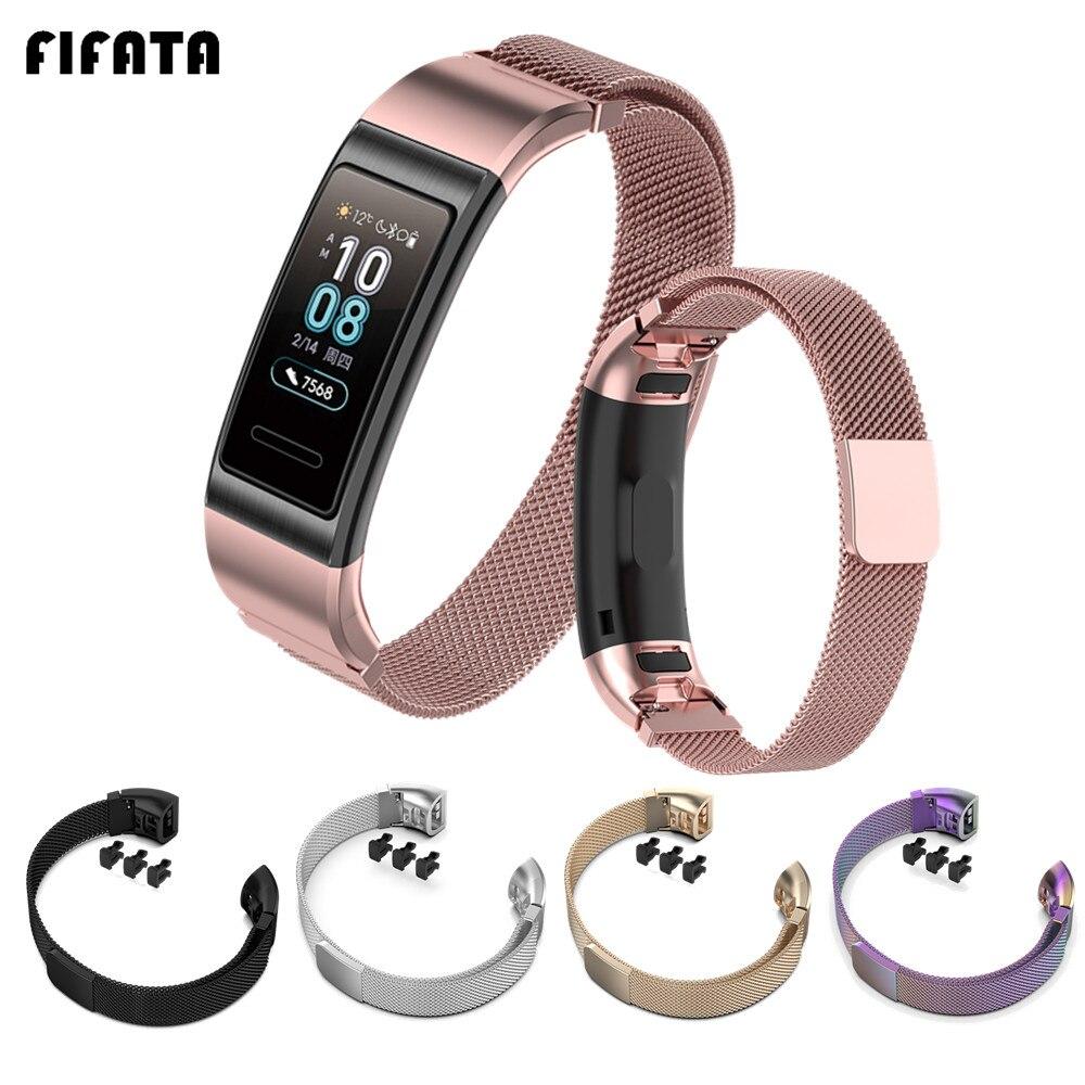 FIFATA Milanese Metal Bracelet For Huawei Band 4 Pro / 3 Pro Steel Band Wrist Strap For Huawei Band 4/3 Smart Watch Wristband