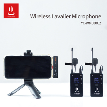 20-Channel UHF Wireless Lavalier Lapel Microphone Type-C jack One Receiver With Two Transmitter foe phone Interview Recording xtuga uhf wireless lavalier lapel microphone system live recording mic with rechargeable transmitter