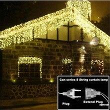 4,6 м светодиодный светильник на Рождество, уличная домашняя гирлянда, гирлянда, сказочный светильник, уличная сосулька, занавеска, 0,4-0,6 м, для сада, дома, деко, 110-220 В