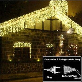 Guirnalda para exterior de luces LED navideñas de 4,6 M, guirnalda para luces de hadas, cortina de carámbano para Calle de 0,4 a 0,6 m, decoración para el hogar y Jardín de 110 a 220V
