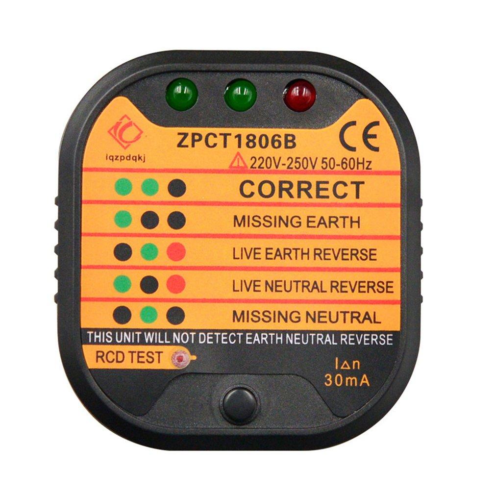 ZPCT1806B Outlet Socket Tester Detector Circuit Polarity Voltage Plug Breaker EU Ground Zero Line Switch Safety Electroscope
