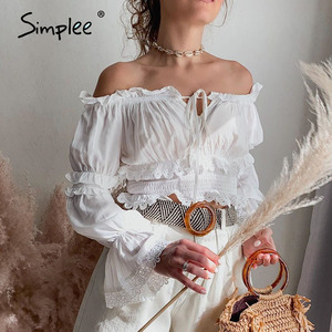 Simplee Elastic high waist women blouse shirt Sexy slash neck lace up female top shirt Ruffled hollow out lace embroidery tops