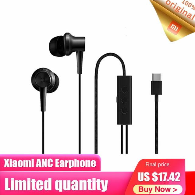 Original Xiaomi ANC Earphone Active Noise Cancelling In Ear 3.5mm Type C Interface Mic Line Volum Control For Xiaomi A1 Redmi 4X