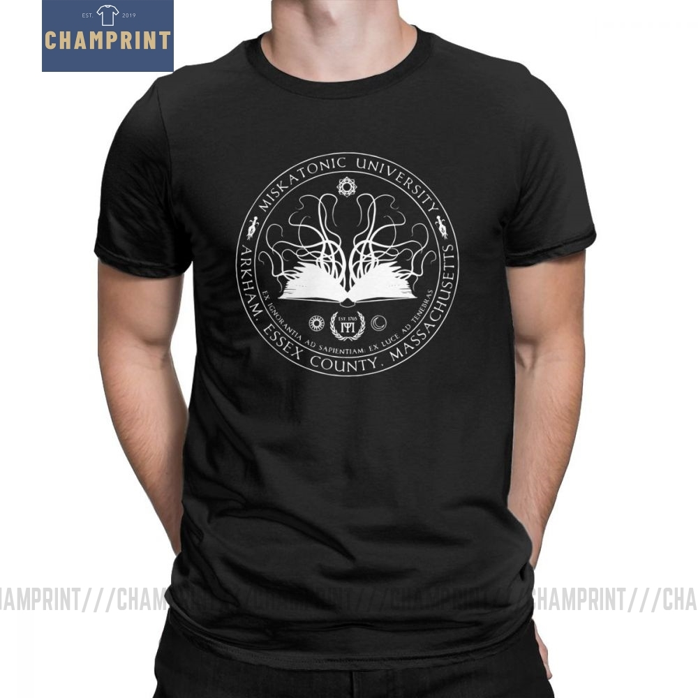 Miskatonic Sigil Call Of Cthulhu Man T Shirts Miskatonic Lovecraft Arkham Cotton Short Sleeves Tees Crew Neck T-Shirt Tops