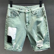 Light Green Summer Males Scratched Denim Shorts Men Thin Knee Length Jeans Casual Hole Straight Vintage Washed Micro-Elasticity