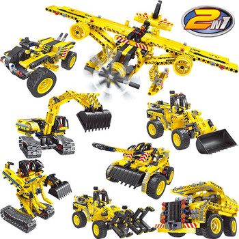 2 In 1 City Building Blocks Engineering Toys Technic blocks Excavator Constructor Bricks Model Car Mining Truck Children Gifts lepin 20025 760pcs technic the red engineering excavator set building blocks bricks model toys christmas gifts compatible 8294