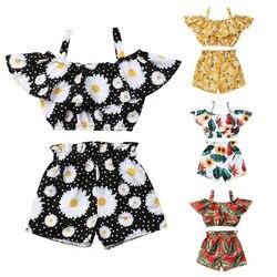 Новейшая модная летняя одежда для маленьких девочек топы короткие штаны с открытыми плечами и оборками комплект одежды из 2 предметов