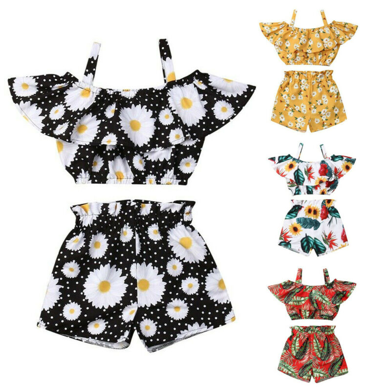 2pcs Kids Baby Girl Summer Clothes Tank Crop Top Vest  Shorts Pants Outfits Set