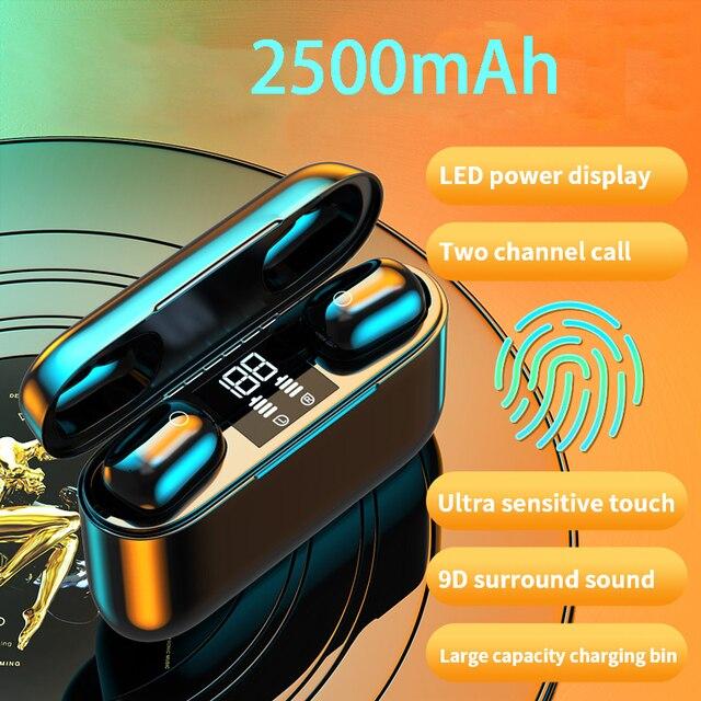 2020 nowe słuchawki TWS Bluetooth słuchawki bezprzewodowe 2500mAh zestaw słuchawkowy LED 9D słuchawki hi fi Sport wodoodporne słuchawki douszne