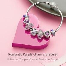 Athenaie 925 Sterling Zilveren Romantische Paars Bedels Armbanden & Bangles Met Cz Kralen Voor Vrouwen Valentine Sieraden Meisje Geschenken