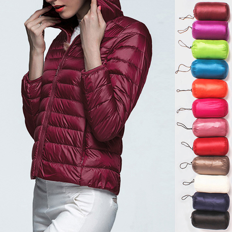 Women's Down Jacket Ultra Thin Down Packable Hooded Warm Jacket Long Sleeve Slim Parka Female Solid Portable Outwear Coat Winter