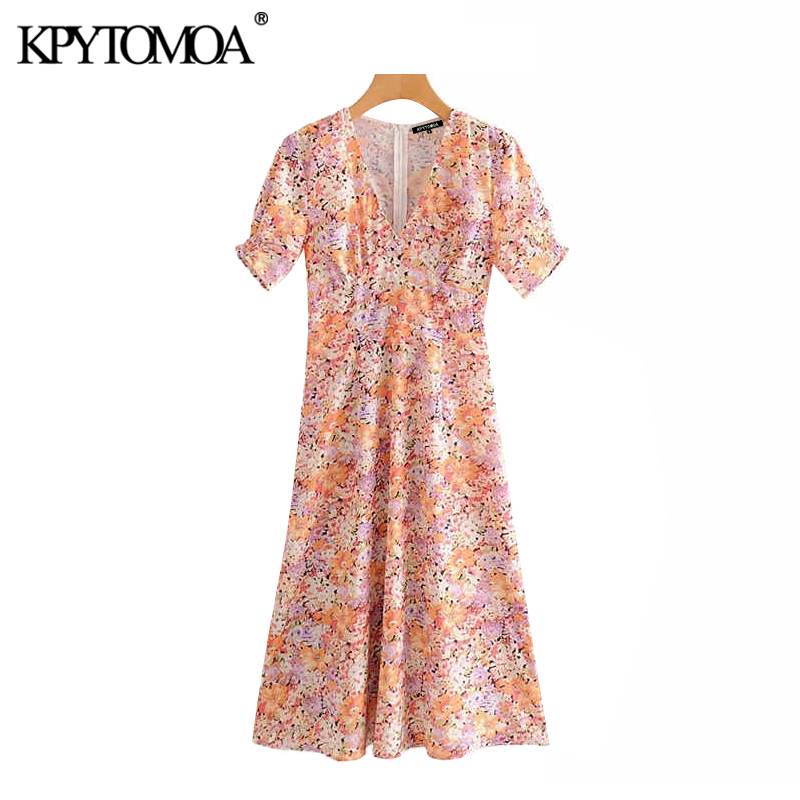 Vintage Elegant Floral Print Midi Dress Women 2020 Fashion V Neck Short Sleeve Back Zipper Female Dresses Chic Vestidos Mujer