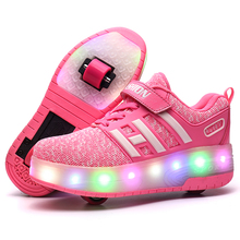 Skate Shoes Heelys LED Flashing Roller Skate Shoes Sneakers Boots Kids Double Wheels Boy Girl Roller Skate Luminous Lamp Shoes