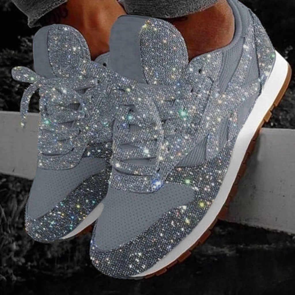 Sapatos de inverno moda feminina casual respirável cristal bling rendas até sapatos de desporto plataforma tênis mais quente caminhadas botas de neve
