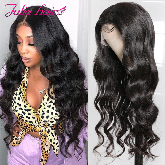 Brazilian 13x4 Lace Front Wig Pre Plucked Body Wave Human Hair Wigs with Baby Hair Ali Julia Lace T Part Closure Wig Fake Scalp
