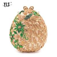 Gold Ball Crystal Clutches Flower Design Small Evening Purses Wedding/Special Occasion Clutch/Evening Handbags Clutches
